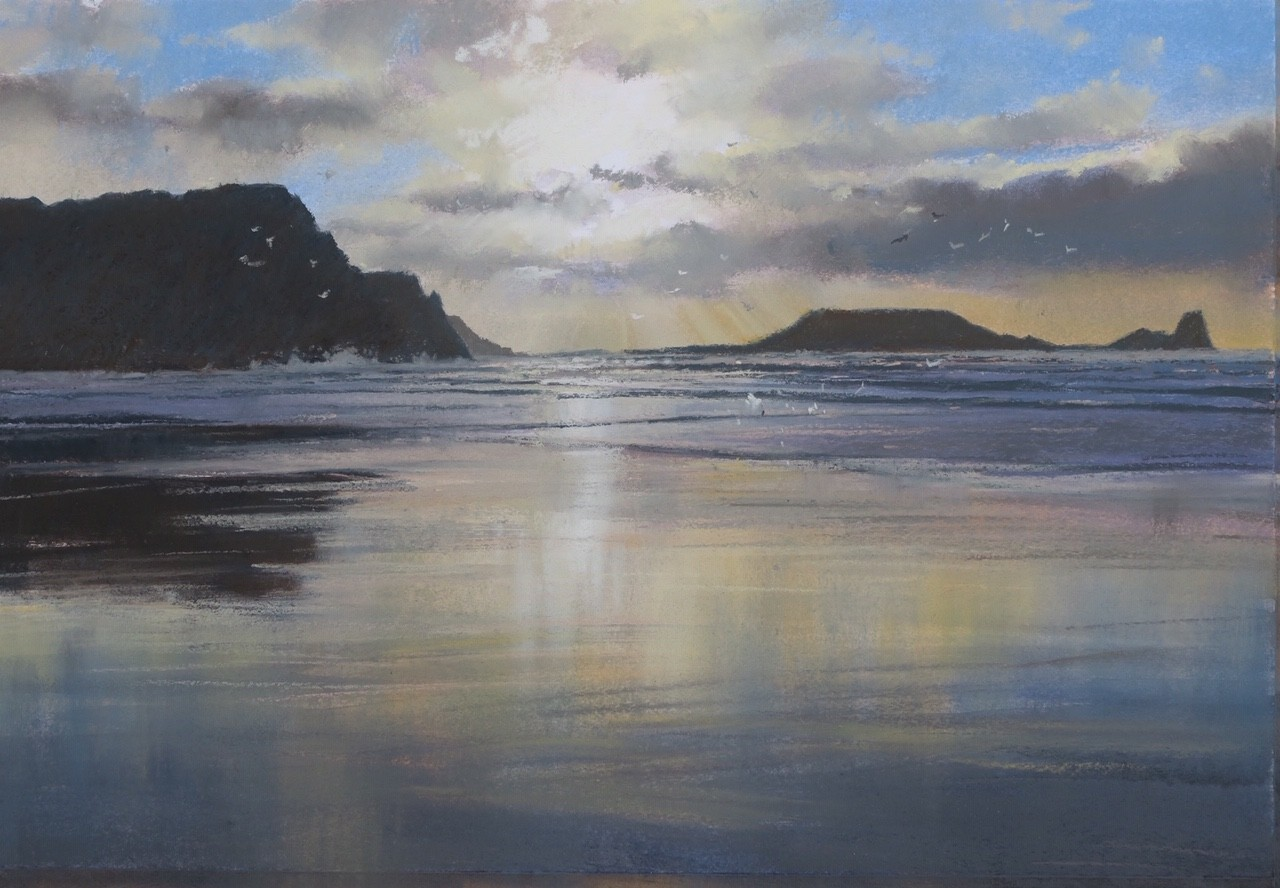 "Jonathan Taylor ""Worms Head"" Pastel (38 x 26 CM)"