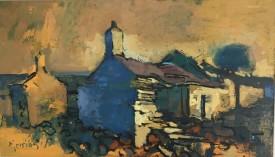 "Mierion Jones ""Farm Ruins in Golden Light"", Acrylic, (30 x 50 cm)"