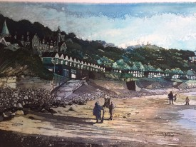10: Rhona Tooze 'Winter Play at Langland ' (28 x 43 CM) Batik
