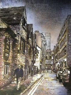 13: Rhona Tooze 'St. Mary's street, Swansea' (39 x 24 CM) Batik