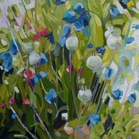 Poppy Heads No. 1    40 x 40 cm    Oil on paper