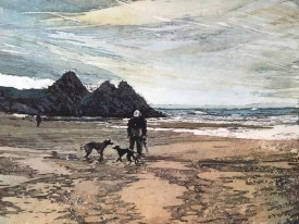 17: Rhona Tooze 'Finding a Friend , Three Cliffs Bay' (23 x 30 CM) Batik