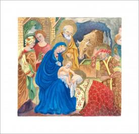 The Nativity    Mixed Media     23 x 24 cm      Handmade Italian frame.  Part gold-leafed.  non-reflective glass