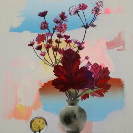 Heuchera, Astrantia and Paperweight    12 x 12 ins    Oil on board