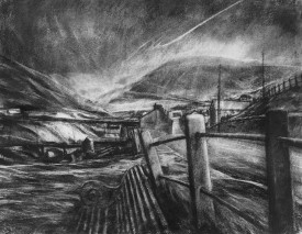 32.A seat on the Graig.(charcoal.44.5x59 cms)