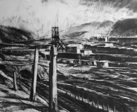 : 33.Winter in the hills,South Winder across the Avon.(charcoal.50x60.5cms)