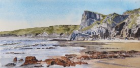 Great Tor, South Gower    18x36 cm   Watercolour