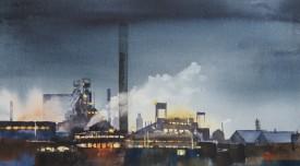 Nocturne, Port Talbot    25x46 cm    Watercolour