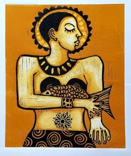 Ocre Empress   26x22 cm   Linocut