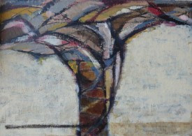 "Kathryn Le Grice 'Arching Tree V' (8"" x 12"") Acrylic and Charcoal"