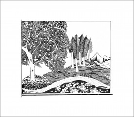 Pathway to the Mountains    Pen & Ink     14 x 17 cm     (framed size 25 x 28 cm)