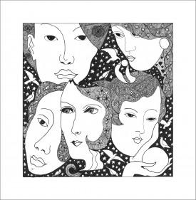 Faces     Pen & Ink     29 x 29 cm    (Unframed) Off-white mount