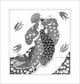 Floating Lady     Pen & Ink     33 x 32 cm     (framed size 47.5 x 46 cm)
