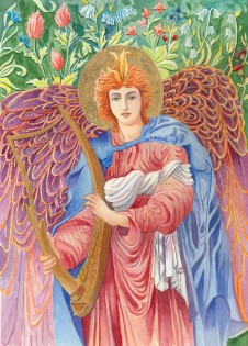 Angel    Watercolour     26 x 18 cm     (framed size 37 x 30 cm) Handmade Italian frame.  Part gold-leafed.  non-reflective glass