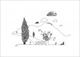 Rural Idyll     Pen & Ink     15 x 24 cm    (Unframed) Off-white mount