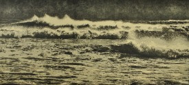 Breaking waves. Drypoint and engraved relief print 48 x 102 cm