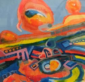 """Vibrant Waste"" Ink & Acrylic, (20 x 20 cm)"