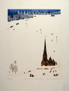 Brenda Hartill 'Church on the Heath' (26 x 23 CM) Framed Limited edition etching aquatint