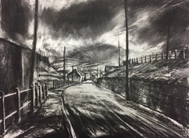 'Lightning on the Bwlch.'  Charcoal. 18 x 23.5 inches. £ 1250.