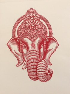 """Ganesh God of Beginning"" 1/30 Limited Edition print Linocut (29 x 40 cm)"