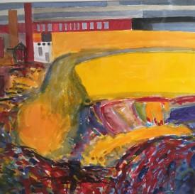 """Multicoloured Industrial Landscape"" Acrylic, (35 x 35 cm)"