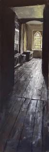 """Gwydir Castle. Corridor past the Ghost Room"". Gouache on board. (35x12cm)"