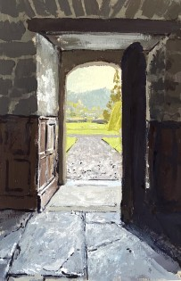Gwydir Castle. view to the garden. Gouache on board. 23x15cm