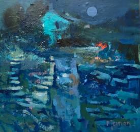 """Meirion Jones """"Harvest Moon"""", Acrylic, (30 x 32 CM)"""