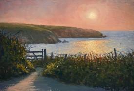 Evening Light on the Coast Path    21 x 31 cm    Oil