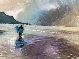 Langland Surfer    17 x 22 ins.   Original Batik