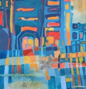 "Carolyn Little ""Dinas II"" Acrylic, (19 x 20 cm)"