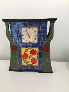 Ceramic Clock sculpture Arts and Crafts after William Morris