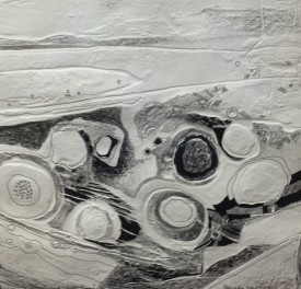 """""""Black and White song 2"""" Embossed drawing (29 X29 cm)"""