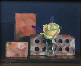 "Summer Show 2018 -""Yellow Rose and Old Bricks"" Oil on Canvas 11.5"" X 9"""