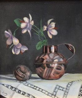 """Summer Show 2018 - """"Flowers in Victorian Cream Pail"""" Oil on Canvas 11.5"""" x 9"""""""