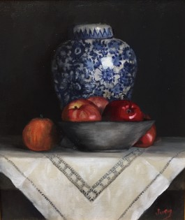 "Summer Show 2018 - ""Blue pot and Apples"" Oil on Canvas 12"" X 10"""