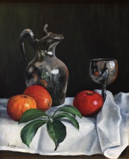 "Summer Show 2018- Pewter Jug and Apples Oil on Canvas  12"" X 10"""