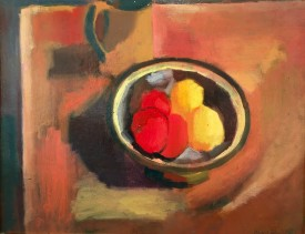 "Will Roberts ""Still Life with Apples II"" , 1947, oil on board, 14 x 17 ins"
