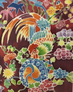 Bird in Paradise    Silk Painting    23 x 25.5 cm    (framed size 35.5 x 37 cm) Black frame.   Off-white mount