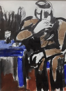 """Figure Smoking in Pub"" (7.5 X 5.5 Inches) Mixed Media"