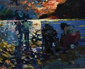 """Meirion Jones """"Caswell"""", Oil, (9"""" x 11"""")"""