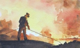 Steelworks Series No.37    12 x 19 cm    Watercolour   UNFRAMED