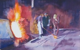 Steelworks Series No.36    38 x 58 cm    Watercolour   UNFRAMED