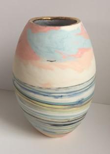 Seascape Vase I          Porcelain with 22 Carat Gold trim