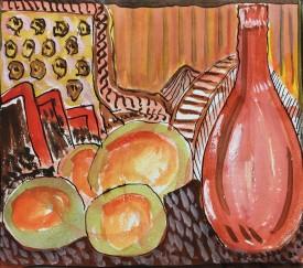 """Jack Jones """"Fruit & Wine * 1952 watercolour(14 x 15 cm) Mounted unframed"""