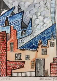 "Jack Jones ""Greenhill""1955 watercolour(16 x 12 cm)Watercolour Mounted unframed"