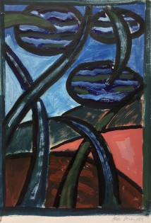 """""""Triffid"""" 1953 watercolour (28 x 20 cm) Mounted unframed"""