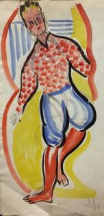"""Jack Jones """"Man""""1953 (39 x 21 cm) Watercolour Mounted unframed"""