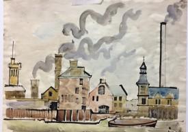 """Jack Jones """"Chelsea"""" 1968 Watercolour (25 x 34 cm) Mounted unframed"""