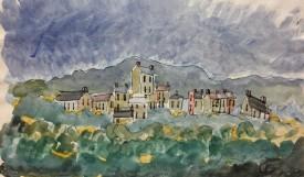 "Jack Jones ""Village"" 1980 Watercolour and ink (20 x 25 cm) Mounted unframed"